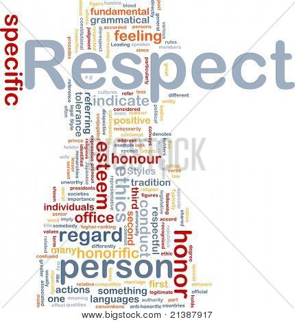 Background concept wordcloud illustration of respect