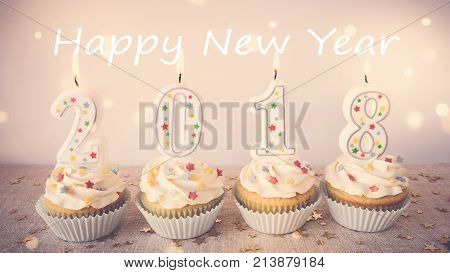 2018 Happy New Year Cupcakes with fairy light