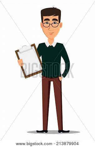 Business man cartoon character. Young handsome smiling businessman in smart casual clothes holding clipboard. Stock vector