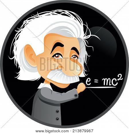 November 14, 2017, Albert Einstein Vector Cartoon Illustration