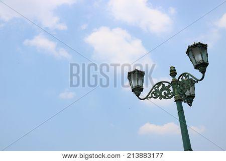 Vintage lamp, Historial of Yogyakarta, Indonesian Sky, light poles Indonesian City | Asian Sky
