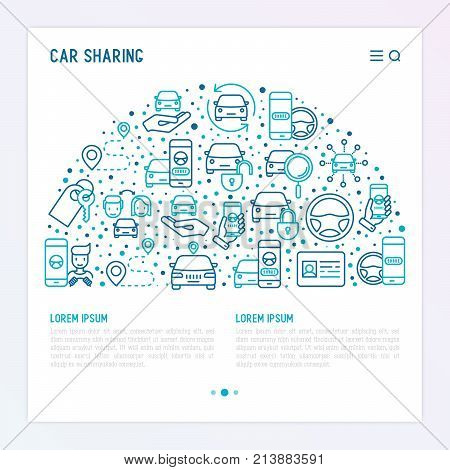 Car sharing concept in half circle with thin line icons of driver's license, key, blocked car, pointer, available, searching of car. Vector illustration for banner, web page, print media.