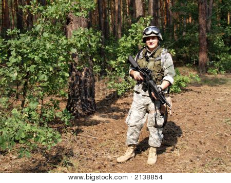 Soldier With M4 Carbine