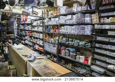 PONDICHERY PUDUCHERY TAMIL NADU INDI1 - CIRCA SEPTEMBER 2017. Hardware store. Traditional showcase of tool store. Toolboxes and toolkit in the shop.