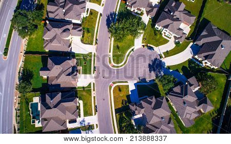 High Priced Real Estate And Luxury Living Straight Down Angle Aerial Drone View High Above Mansions