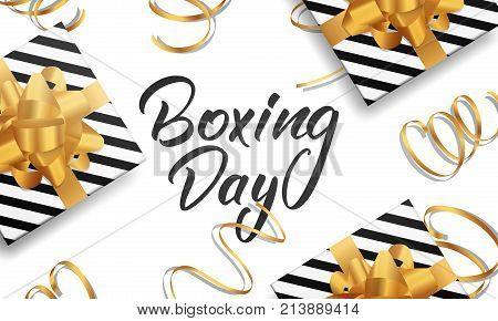 Boxing Day. Banner with Boxing Day lettering text, glossy gift packages and realistic gold confetti