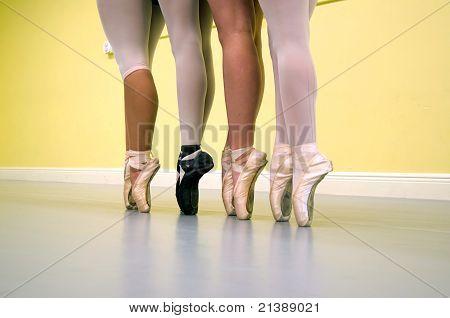 Ballet Dancers Legs On Pointe