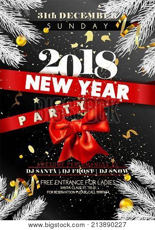 New Year 2018 party promotional poster with spruce branches, gold serpentine and confetti, bow of ribbon and huge sign on red stripes vector illustration. Invitation to celebrate winter holiday.