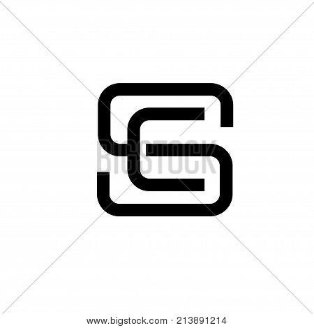 creative monochrome concept letter S, SE, SC letter ES, CS flat black color logo design