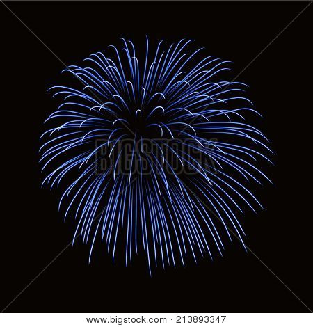 Beautiful blue firework. Bright firework isolated on black background. Light blue decoration firework for Christmas New Year celebration holiday festival birthday card Vector illustration