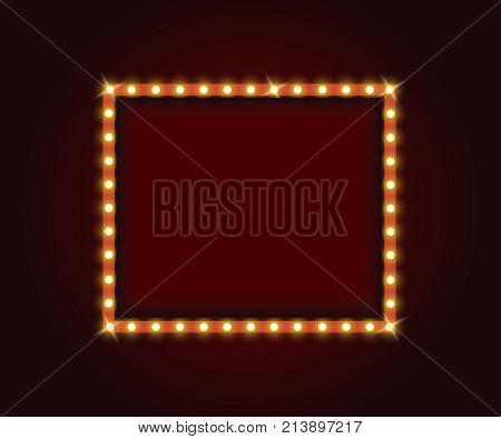 Frame with electric bulbs. Makeup mirror with electric bulbs. Retro marquee frames with light bulbs