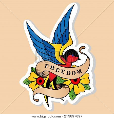 Sketch of old school tattoo. A sketch of a blue-red bird swallow tattoo with flower and sign freedom. The sketch is made in warm colors. Hipster youth old school picture for boys and girls