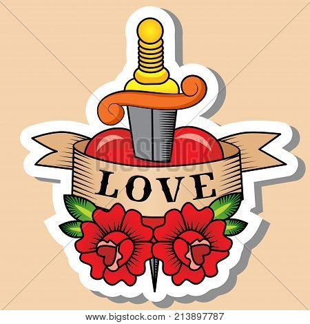 Sketch of old school tattoo. A sketch of a dagger piercing heart with the inscription love tattoo with red rose. The sketch is made in warm colors. Hipster youth old school picture for boys and girl