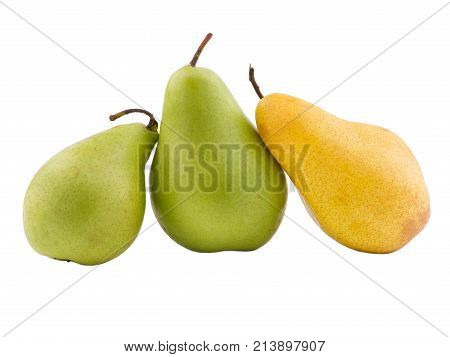 Two green pears next to a yellow pear and useful on a white isolated background
