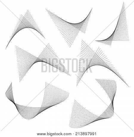 Design Element Wavy Ribbon From Many Parallel Lines01