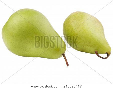 Two green ripe and juicy pears are turned to the right on a white isolated background