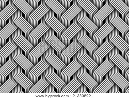 Seamless pattern of braided fiber. Vector monochrome striped ornament.