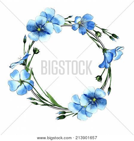 Wildflower flax wreath in a watercolor style. Full name of the plant: flax . Aquarelle wild flower for background, texture, wrapper pattern, frame or border.