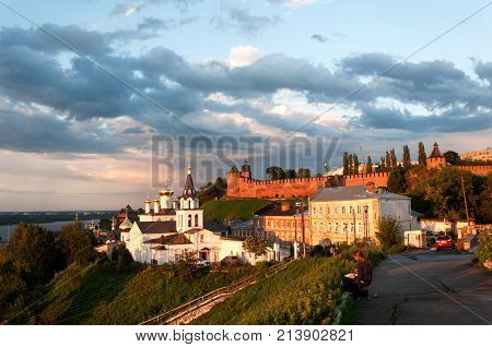NIZHNY NOVGOROD, RUSSIA- AUGUST 05, 2017: View of the Church Of Elijah The Prophet on the background of the Kremlin, Nizhny Novgorod, Russia.