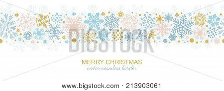 Seamless snowflake border decoration isolated on white background, Christmas design for greeting postcard. Vector illustration, merry xmas flake header or banner, wallpaper or backdrop decor