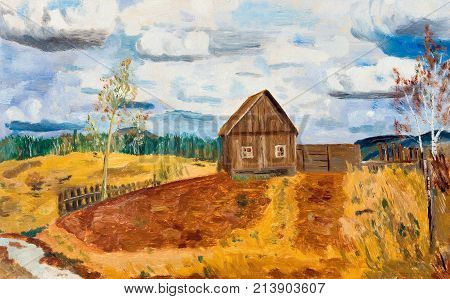 Spring landscape with a lonely house in the field. Oil painting