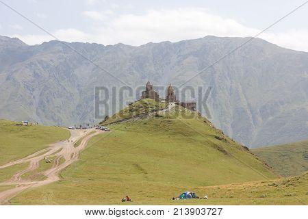 Tsminda Sameba- Holy Trinity Church near the Kazbegi-Gergeti village.The Church is situated at an altitude of 2300 meters at the foot of mount Kazbek