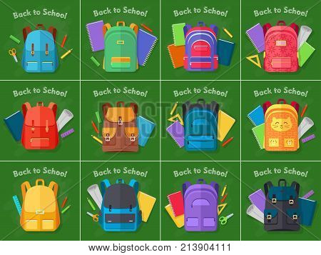 Back to school. Set of different contemporary kinds backpacks. Various bags in shape and colour on green background. Various school objects behind backpacks. Flat design. Vector illustration