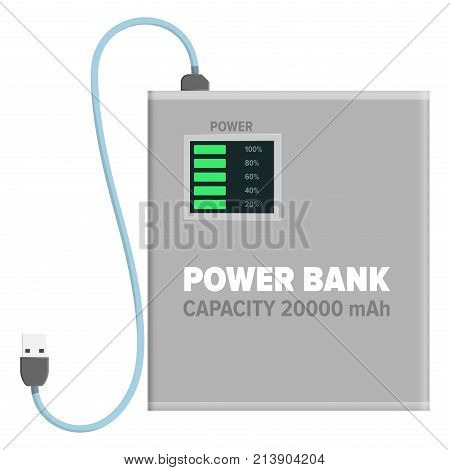 Power bank with capacity of 20000 mAh isolated on white background. Energy container with USB wire for connection with device. Electrical appliance to refill power content vector illustration.