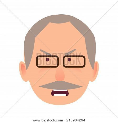 Irritated facial expression of man in flat style on white. Wicked and discontented look of ederly human in black-rimmed glasses opened mouth. Vector illustration of character and face emotions