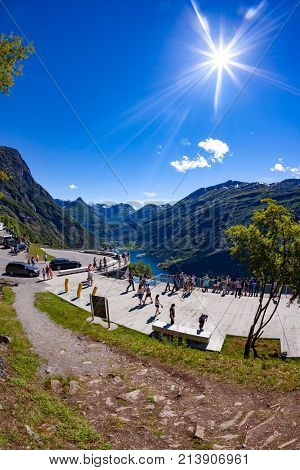 NORWAY, Geiranger fjord - JULY 20,2016: Viewing point Geiranger fjord Norway. It is a 15-kilometre (9.3 mi) long branch off of the Sunnylvsfjorden, which is a branch off of the Storfjorden