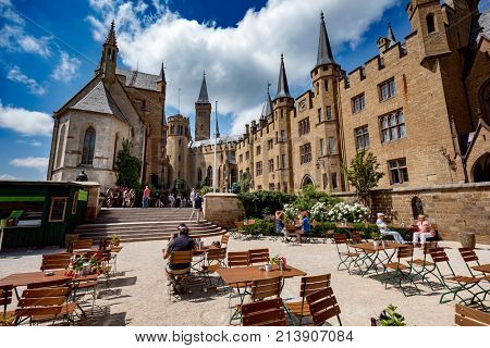 Hohenzollern Castle, Germany - June 24, 2017: Hohenzollern Castle (German: About this sound Burg Hohenzollern) is the ancestral seat of the imperial House of Hohenzollern