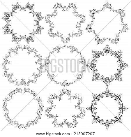 Set of Grafic round lace frames, doodle ornament, round lace vector design