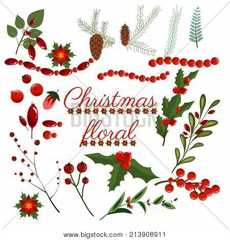 Christmas floral wreath winter set floret holiday elements vector art flower design illustration wreath. Winter vintage collection painted plants decorations poinsettia berry branchlets fir cone.