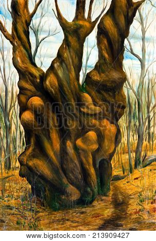 Allegory of human passions. The trunk of the tree. Oil painting