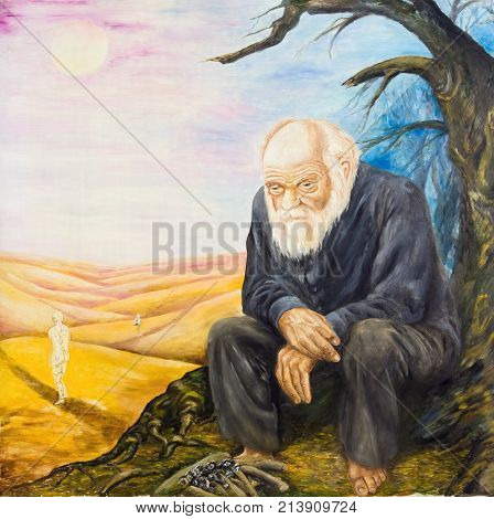 The old man by the desolate fire. Allegory of resentment. Oil painting