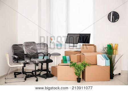 Moving boxes and different stuff in new office