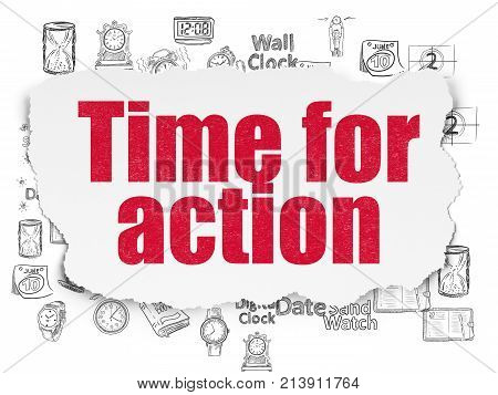 Time concept: Painted red text Time for Action on Torn Paper background with  Hand Drawing Time Icons