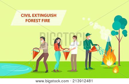 Civil Extinguish Forest Fire. Vector illustration of people with dust masks cooperating in order to put out burning tree and grass with water