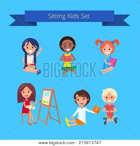 Sitting kids set isolated vector illustration on light blue background. Pupils gaining new knowledge and skills during classes at school