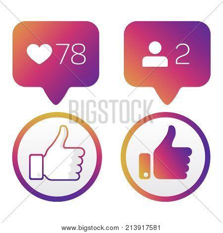 Thumb up, like icons, like follower icons vector set. Vector illustration