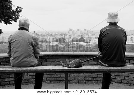 People in the city. Conceptual black-and-white photos of people. People look at the city from a height. Old man on the bench with a newspaper and a cane. Old good friends, old buddy. Best friends
