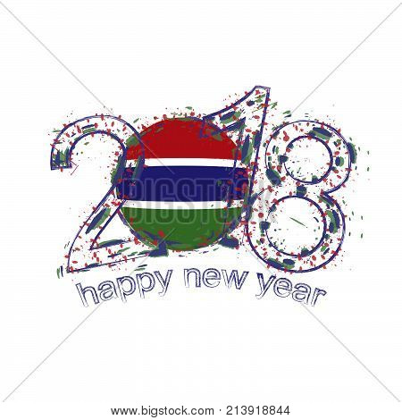 2018 Happy New Year Gambia Grunge Vector Template For Greeting Card And Other.