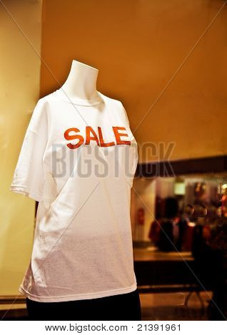Manequin dressed in For Sale T-shirts
