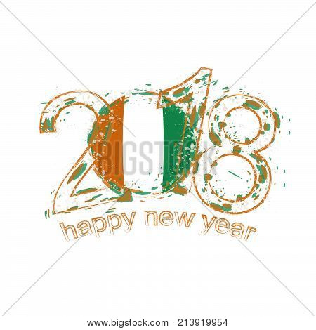 2018 Happy New Year Ivory Coast Grunge Vector Template For Greeting Card And Other.