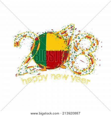 2018 Happy New Year Benin Grunge Vector Template For Greeting Card And Other.