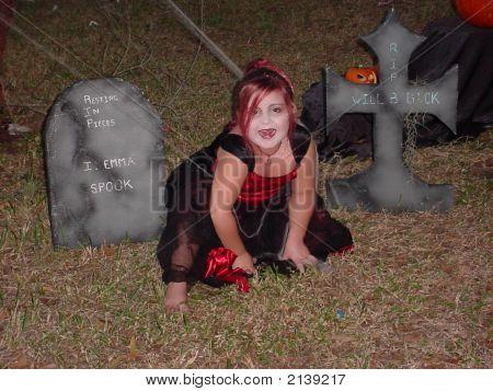 Vampire Girl In Graveyard