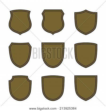 Shield Flat Icons Emblem Set