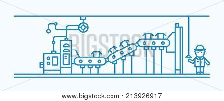 Industrial belt conveyor conveying boxes and factory worker wearing hard hat, standing beside it and controlling system drawn with blue contour lines. Monochrome vector illustration in lineart style