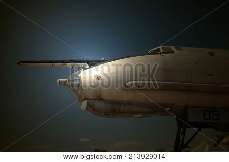 Soviet forgotten strategic bomber TU-95.Military air base decay. Near Kiev, Ukraine