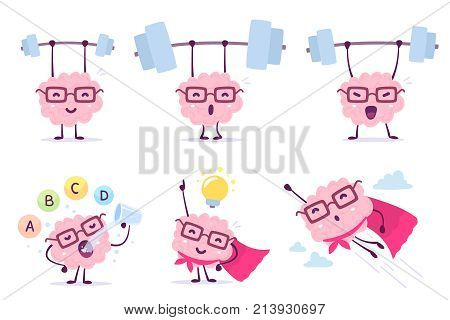 Very Strong, Healthy And Smart Cartoon Brain Concept. Vector Set Of Illustration Of Pink Color Brain